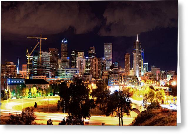Intrigue Greeting Cards - Denver Skyline Greeting Card by Jim Malcolm