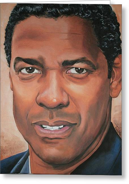 Portraits By Timothe Greeting Cards - Denzel Washington Greeting Card by Timothe Winstead