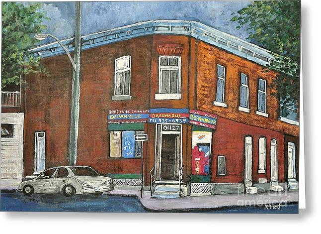Montreal Stores Paintings Greeting Cards - Depanneur Surplus De Pain Rue Charlevoix Greeting Card by Reb Frost