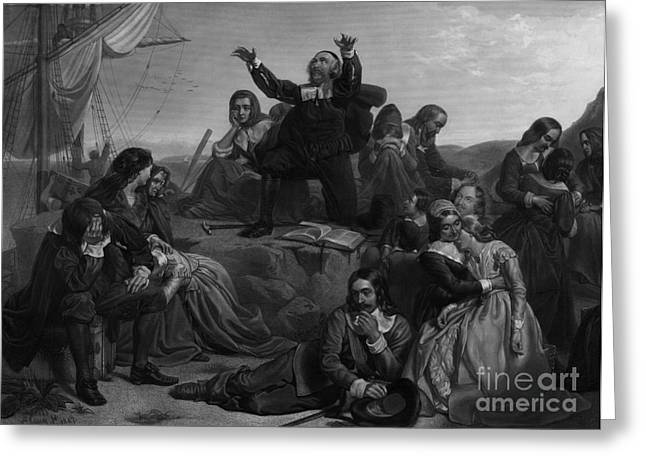 Plymouth Massachusetts Greeting Cards - Departure Of The Pilgrims, 1620 Greeting Card by Photo Researchers