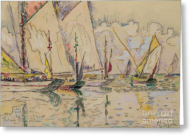 Docked Sailboat Greeting Cards - Departure of tuna boats at Groix Greeting Card by Paul Signac