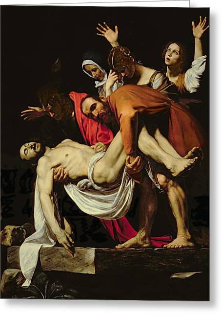 Michelangelo Greeting Cards - Deposition Greeting Card by Michelangelo Merisi da Caravaggio