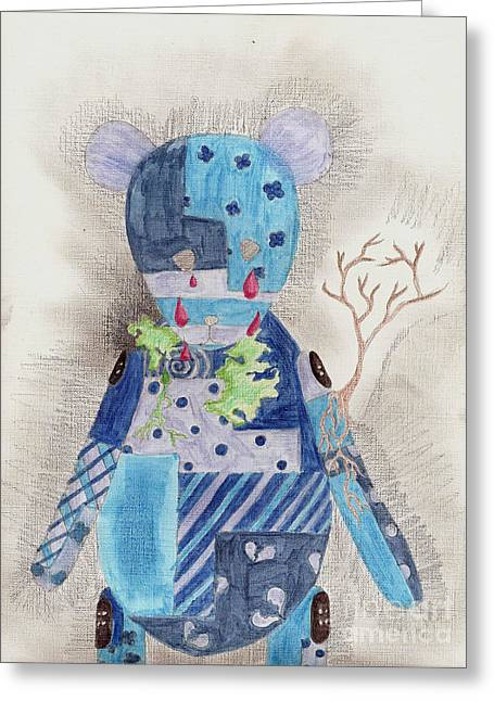 Patch Work Greeting Cards - Depressed Greeting Card by Syvanah  Bennett