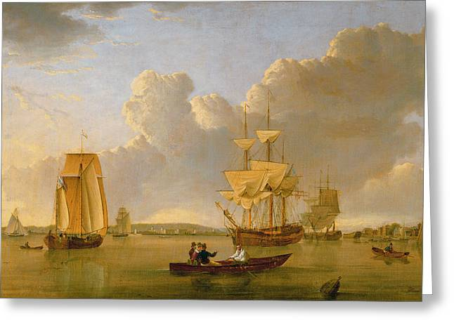 Sailing Ship Greeting Cards - Deptford on Thames with a Distant View of Greenwich Greeting Card by John of Hull Ward