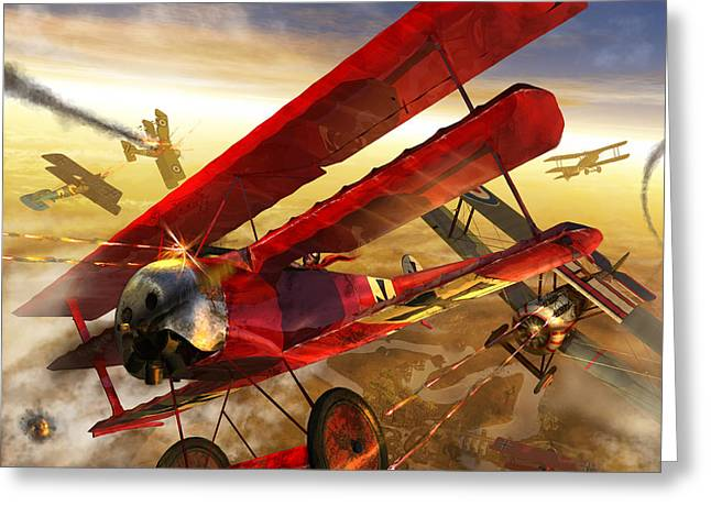 Wwi Digital Art Greeting Cards - Der Rote Baron Greeting Card by Kurt Miller