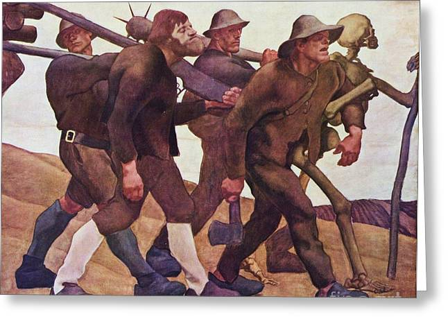Social Comment Greeting Cards - Der Totentanz Von Anno Neun Greeting Card by Pg Reproductions