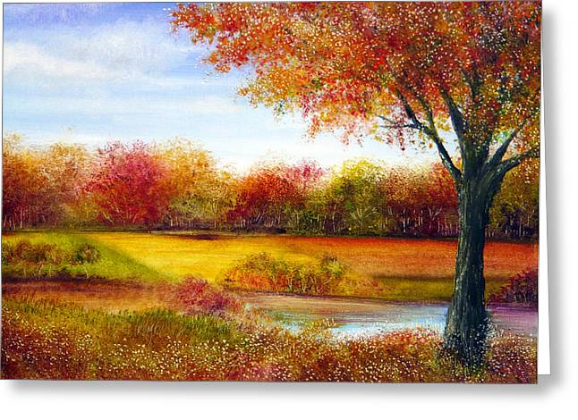 Kinkade Greeting Cards - Derbyshire Autumn Greeting Card by Ann Marie Bone