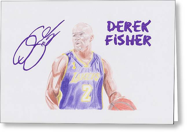 Lakers Drawings Greeting Cards - Derek Fisher Greeting Card by Toni Jaso
