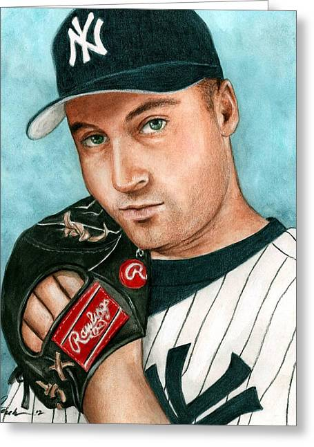 Derek Jeter  Greeting Card by Bruce Lennon