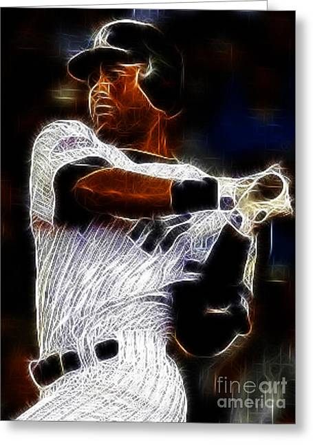 Derek Jeter New York Yankee Greeting Card by Paul Ward