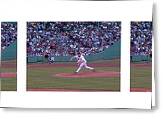 Boston Red Sox Greeting Cards - Derek Lowe Pitching Motion Greeting Card by David Bearden