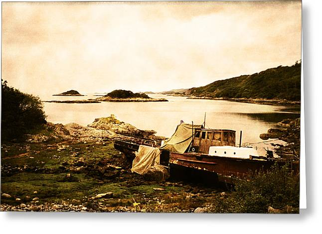 Isle Greeting Cards - Derelict boat in Outer Hebrides Greeting Card by Jasna Buncic