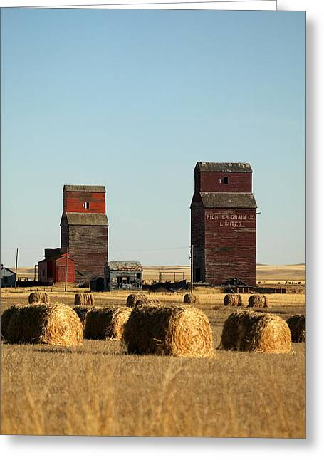 Bale Greeting Cards - Derelict Grain Elevators Stand Greeting Card by Pete Ryan