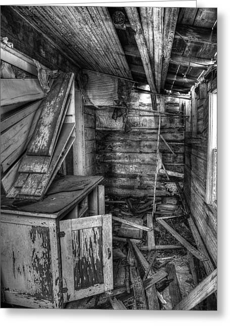 Destroyed Greeting Cards - Derelict House BW Greeting Card by Thomas Zimmerman