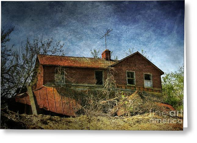 Engulfing Greeting Cards - Derelict House Front Greeting Card by Susan Isakson