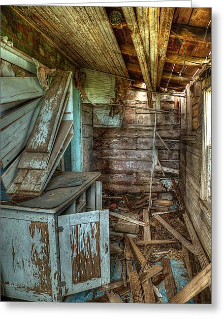 Destroyed Greeting Cards - Derelict House Greeting Card by Thomas Zimmerman