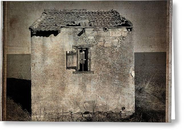 Cabins Photographs Greeting Cards - Derelict hut  textured Greeting Card by Bernard Jaubert