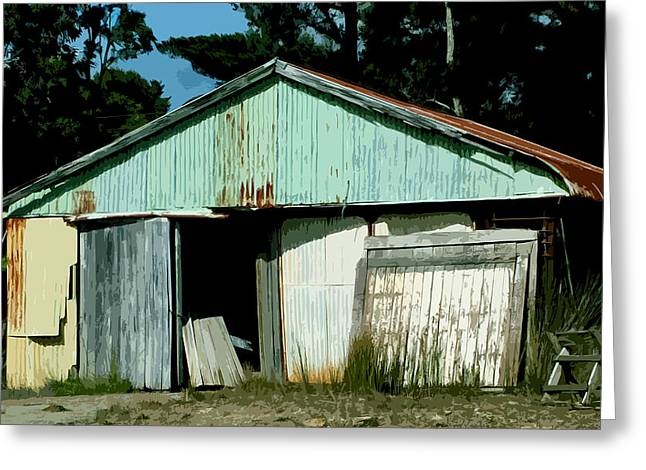 Sheds Digital Art Greeting Cards - Derilict Building Greeting Card by Phill Petrovic