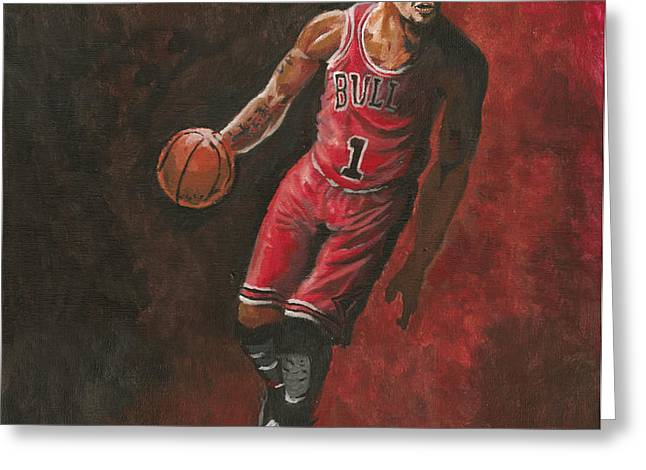 Derrick Rose Greeting Card by Kerstin Carrion