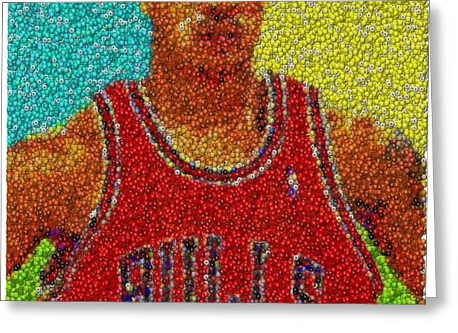 Derrick Rose Skittles Mosaic Greeting Card by Paul Van Scott