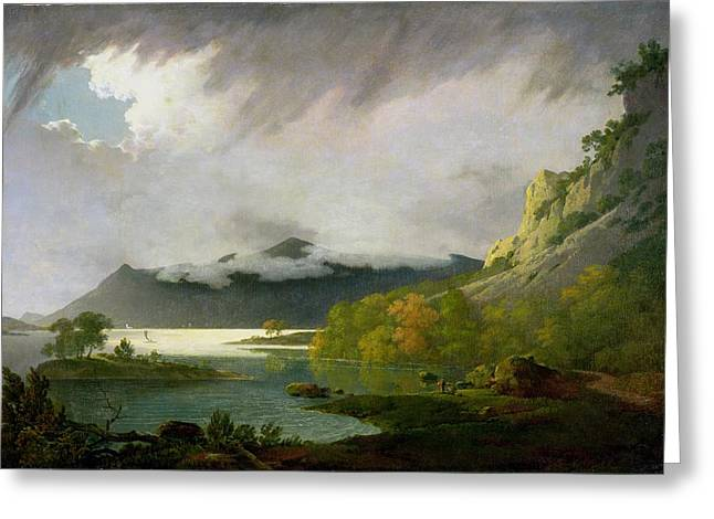 Wright Of Derby Joseph 1734-97 Greeting Cards - Derwent Water with Skiddaw in the Distance Greeting Card by Joseph Wright of Derby