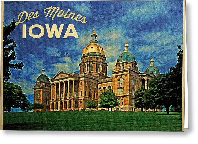 Des Moines Greeting Cards - Des Moines Iowa Greeting Card by Flo Karp