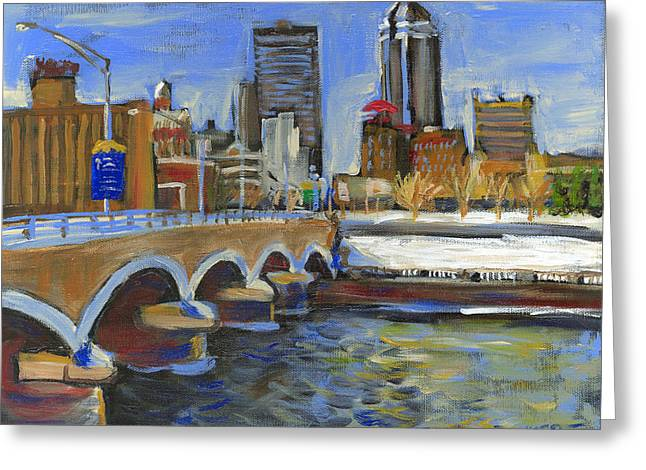 Des Moines Greeting Cards - Des Moines Skyline Greeting Card by Buffalo Bonker