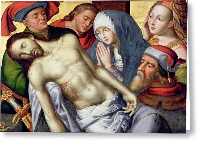 Croix Greeting Cards - Descent from the Cross Greeting Card by Hugo van der Goes