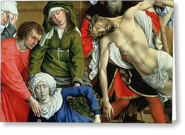 Religious Jesus On Cross Greeting Cards - Descent from the Cross Greeting Card by Rogier van der Weyden