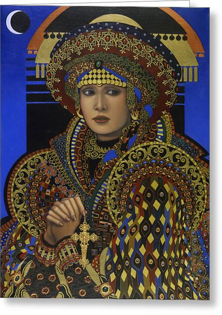 Gold Earring Greeting Cards - Desdemona Greeting Card by Jane Whiting Chrzanoska