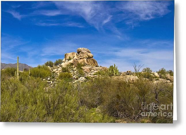 Bule Greeting Cards - Desert Boulders Greeting Card by Scott Pellegrin