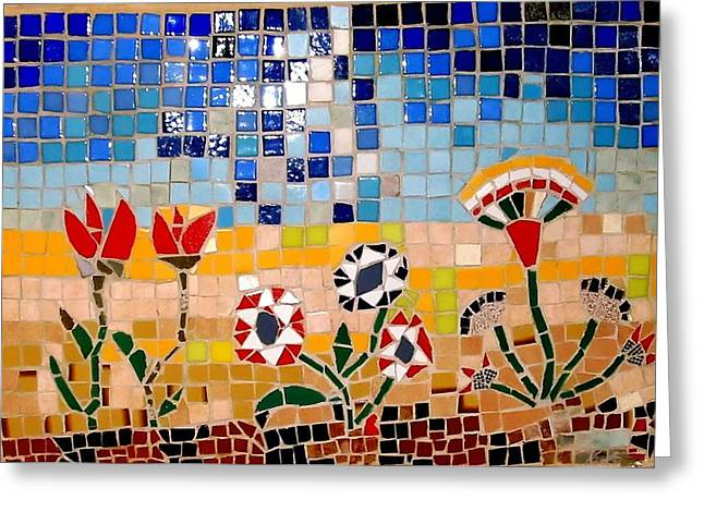 Mosaic Reliefs Greeting Cards - Desert Flowers Greeting Card by Roberto Lacentra