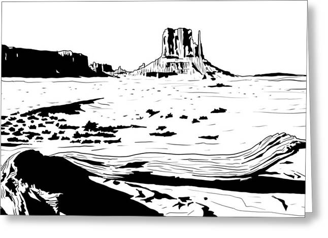 Desert Drawings Greeting Cards - Desert Greeting Card by Giuseppe Cristiano