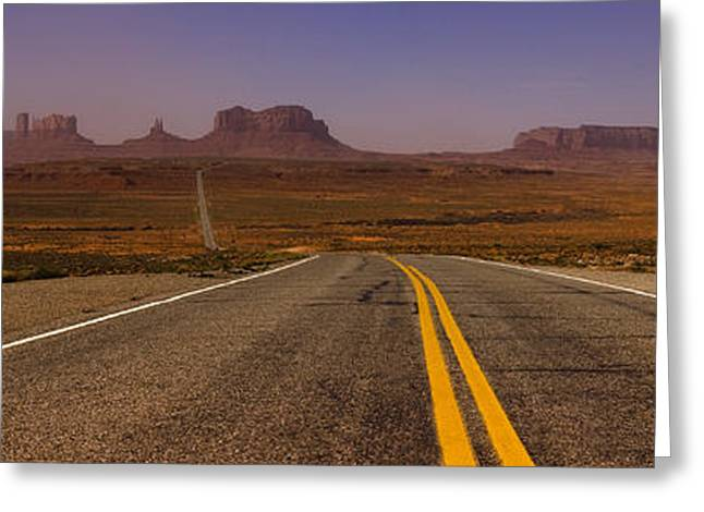 Peaceful Scenery Greeting Cards - Desert Highway Greeting Card by Andrew Soundarajan