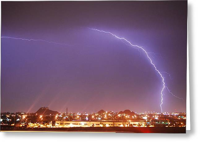 Desert Lightning Greeting Card by Jennifer Nixon