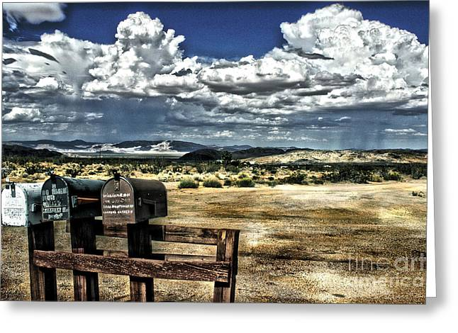 Old West Towns In California Greeting Cards - Desert Mailboxes Greeting Card by Danuta Bennett