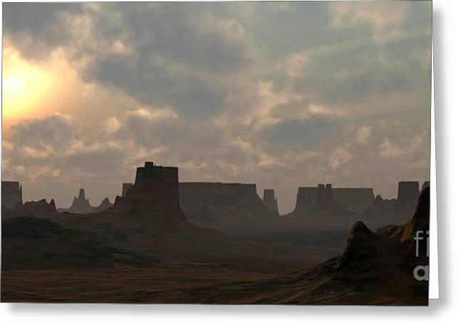 Ledge Greeting Cards - Desert Morning Greeting Card by Richard Rizzo