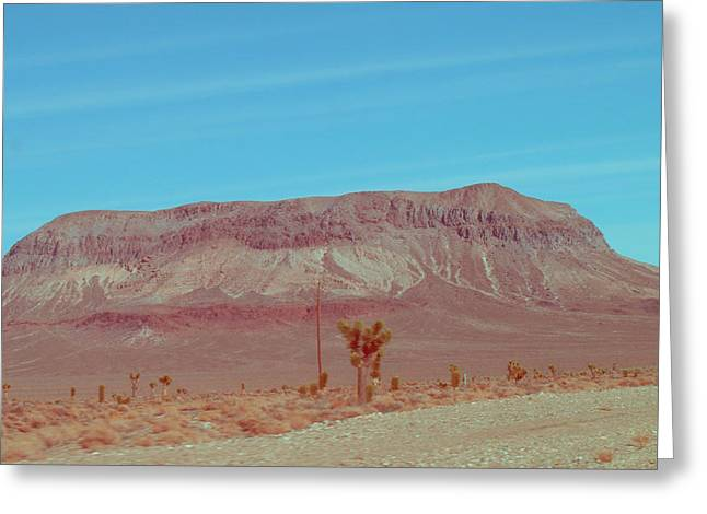 Mountain Road Greeting Cards - Desert Mountain Greeting Card by Naxart Studio