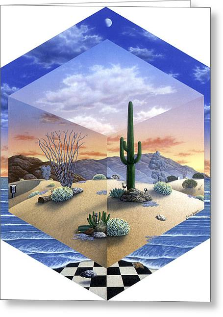 Sand Dunes Paintings Greeting Cards - Desert on My Mind 2 Greeting Card by Snake Jagger
