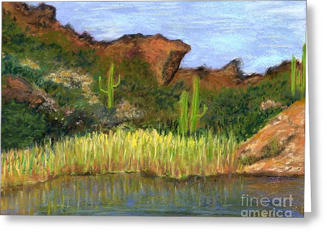 Arid Pastels Greeting Cards - Desert Reflections Greeting Card by Ginny Neece