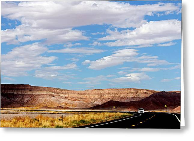 Hightway Greeting Cards - Desert Road Greeting Card by Cedric Darrigrand