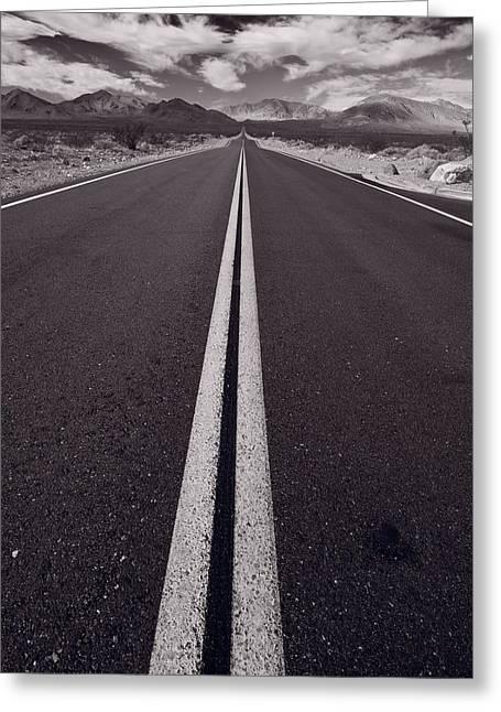 Highway Greeting Cards - Desert Road Trip B W Greeting Card by Steve Gadomski