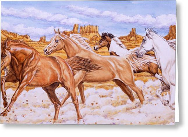 Horses Paintings Greeting Cards - Desert Run Greeting Card by Richard De Wolfe