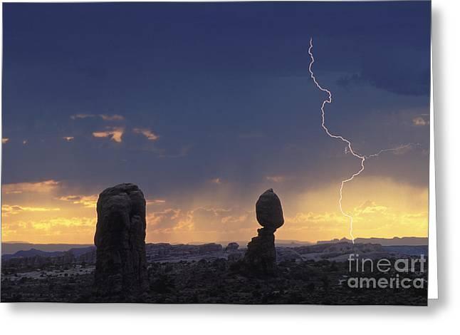 """lightning Strike"" Greeting Cards - Desert Storm - FS000484 Greeting Card by Daniel Dempster"
