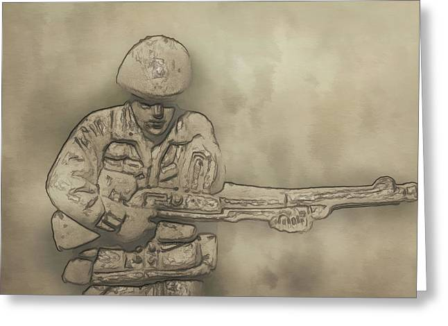 Soldier Of Fortune Greeting Cards - Desert Storm Army Soldier Greeting Card by Randy Steele