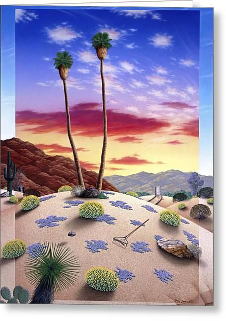 Desert Paintings Greeting Cards - Desert Sunrise Greeting Card by Snake Jagger
