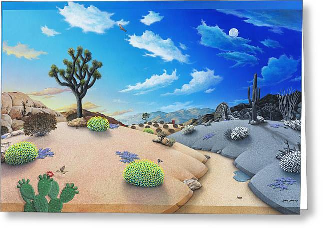 Sand Dunes Paintings Greeting Cards - Desert Timeline Greeting Card by Snake Jagger