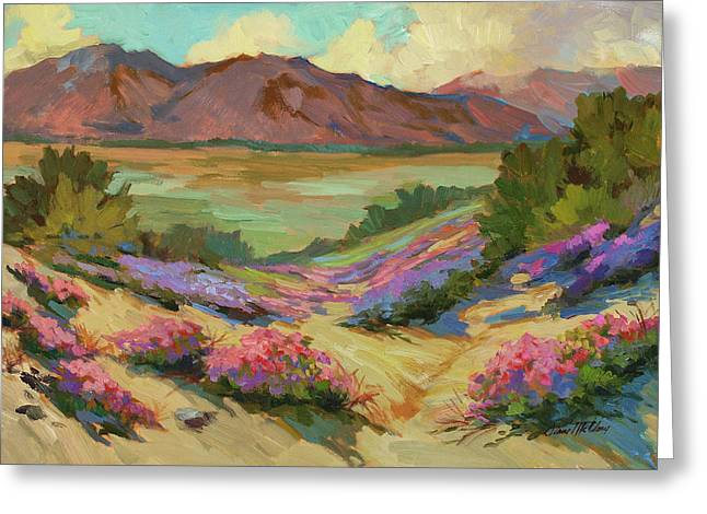 Dark Skies Paintings Greeting Cards - Desert Verbena at Borrego Springs Greeting Card by Diane McClary
