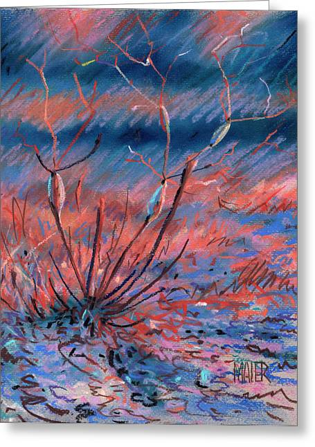 Weed Pastels Greeting Cards - Desert Weed Greeting Card by Donald Maier
