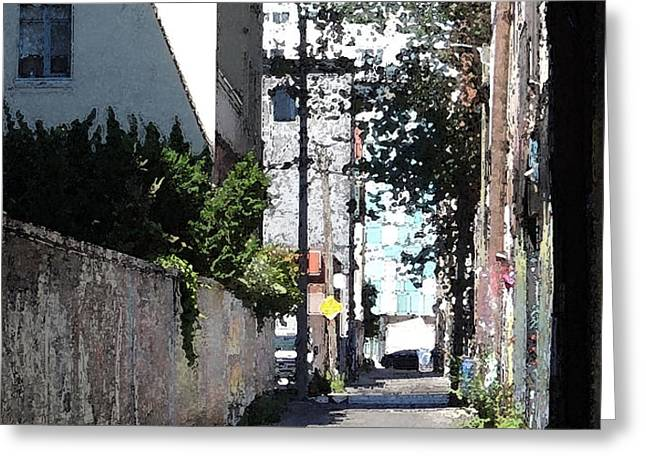 Deserted Alley Greeting Card by Merv Scoble